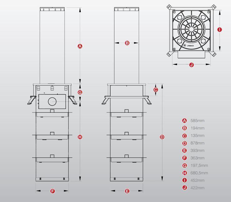 Wymiary bollarda automatycznego luxor